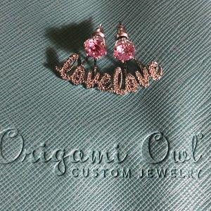 Origami Owl Jewelry - Pink Swarovski Crystals Studs W/love Halos